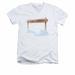 It's A Wonderful Life Shirt Slim Fit V Neck Bedford Falls White Tee T-Shirt