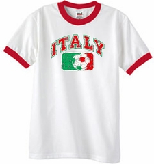 Italian Ringer Shirt - Italy Soccer Futbol Adult White/Red Shirt