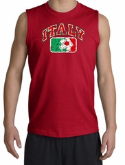 Italian Shooter Shirt - Italy Soccer Futbol Adult Red Muscle Shirt