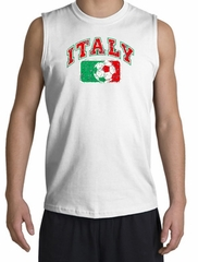 Italian Shooter Shirt - Italy Soccer Futbol Adult White Muscle Shirt