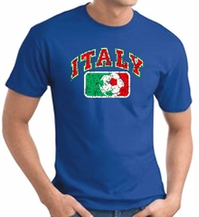 Italian T-shirt - Italy Soccer Futbol Adult Royal Blue Tee Shirt