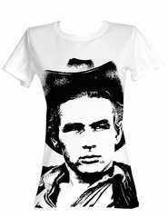 James Dean Juniors T-shirt Silhouette White Tee Shirt