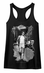 James Dean Juniors Tank Top NY Street Walk Black Racerback