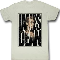 James Dean Shirt James Cracked Adult Dirty White Tee T-Shirt