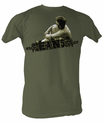 James Dean Shirt JD Dean 55 Adult Military Green Tee T-Shirt