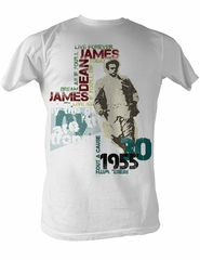 James Dean T-shirt Dean Typography Adult White Tee Shirt