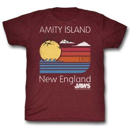 Jaws Shirt Amity Island Maroon Heather T-Shirt