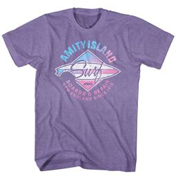 Jaws Shirt Amity Island Surf Heather Purple T-Shirt