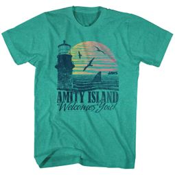 Jaws Shirt Amity Island Welcomes You! Green Heather T-Shirt
