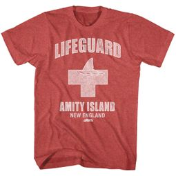 Jaws Shirt Amity Lifeguard Red Heather T-Shirt