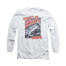 Jaws Shirt Block Chum Long Sleeve White Tee T-Shirt