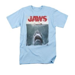 Jaws Shirt Block Title Poster Light Blue T-Shirt