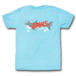 Jaws Shirt Color fill Blue Heather T-Shirt