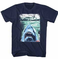 Jaws Shirt Folded Movie Poster Navy Blue T-Shirt