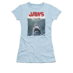 Jaws Shirt Juniors Block Title Poster Light Blue T-Shirt