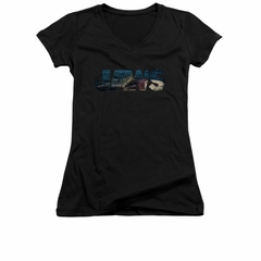 Jaws Shirt Juniors V Neck Logo Cut Out Black T-Shirt