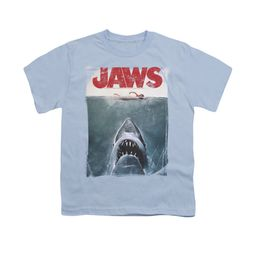 Jaws Shirt Kids Block Title Poster Light Blue T-Shirt