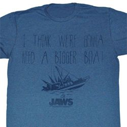 Jaws Shirt Need A Bigger Boat Adult Heather Blue Tee T-Shirt