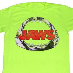 Jaws Shirt Neon Jawbone Adult Bright Green Tee T-Shirt
