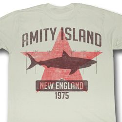 Jaws Shirt New England 1975 Adult Dirty White Tee T-Shirt