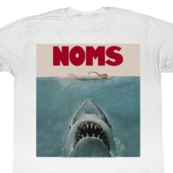 Jaws Shirt Noms Adult White Tee T-Shirt