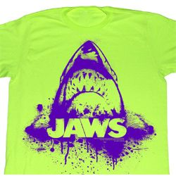 Jaws Shirt Purple Jaws Adult Bright Green Tee T-Shirt