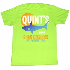 Jaws Shirt Quint Fish Adult Bright Green Tee T-Shirt