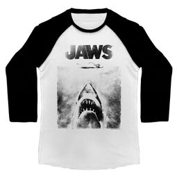 Jaws Shirt Raglan Jaws Below White/Black Shirt