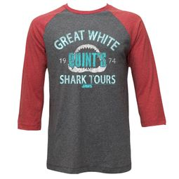 Jaws Shirt Raglan Shark Tours Grey/Red Shirt