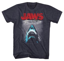 Jaws Shirt Red Movie Logo Heather Blue T-Shirt