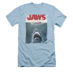 Jaws Shirt Slim Fit Block Title Poster Light Blue T-Shirt