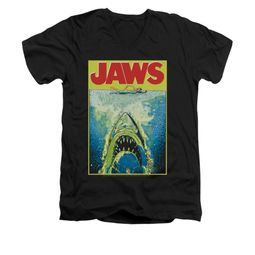 Jaws Shirt Slim Fit V-Neck Bright Black T-Shirt
