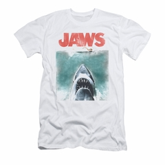 Jaws Shirt Slim Fit Vintage Poster White T-Shirt