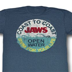 Jaws Shirt Swim For Your Life Adult Blue Tee T-Shirt