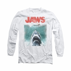 Jaws Shirt Vintage Poster Long Sleeve White Tee T-Shirt
