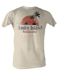 Jaws T-shirt Amity Island Adult Dirty White Tee Shirt