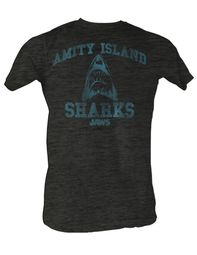 Jaws T-shirt Amity Island Sharks Adult Charcoal Tee Shirt