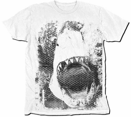 Jaws T-Shirt - Black And White Silhouette Dirty Adult White
