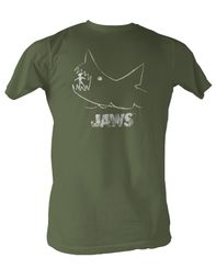 Jaws T-Shirt - Distressed Classic Adult Olive Tee Shirt