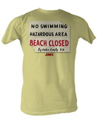 Jaws T-shirt Hazardous Classic Adult Yellow Tee Shirt