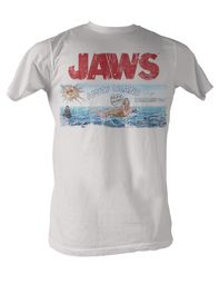 Jaws T-shirt Jaws Island Classic Adult White Tee Shirt