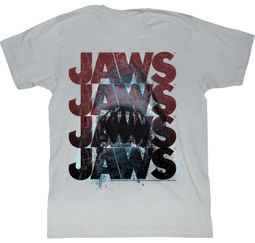Jaws T-shirt Movie Shark JawsJawsJawsJaws Adult Silver Tee Shirt