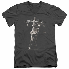 Jeff Beck Slim Fit V-Neck Shirt Guitar God Charcoal T-Shirt
