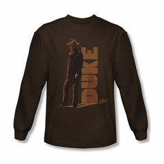 John Wayne Shirt The Duke Long Sleeve Coffee Tee T-Shirt