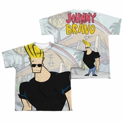 Johnny Bravo Hanging Out Sublimation Kids Shirt Front/Back Print