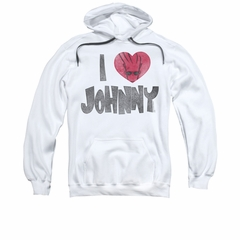 Johnny Bravo Hoodie Sweatshirt I Heart Johnny White Adult Hoody Sweat Shirt