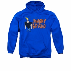 Johnny Bravo Hoodie Sweatshirt Johnny Logo Royal Adult Hoody Sweat Shirt