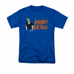 Johnny Bravo Shirt Johnny Logo Adult Royal Tee T-Shirt