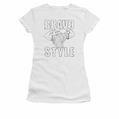 Johnny Bravo Shirt Juniors Bravo Style White Tee T-Shirt