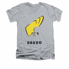 Johnny Bravo Shirt Slim Fit V Neck Johnny Hair Athletic Heather Tee T-Shirt